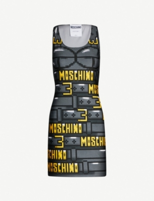 MOSCHINO Logo-print stretch-jersey mini dress