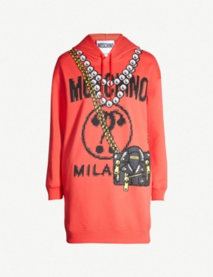MOSCHINO Pixel-print cotton hoody dress