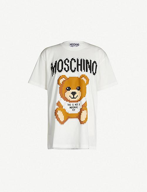 70163ab3f33e8 MOSCHINO Teddy logo-print cotton-jersey T-shirt