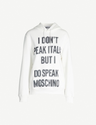 MOSCHINO Slogan-print cotton hoody
