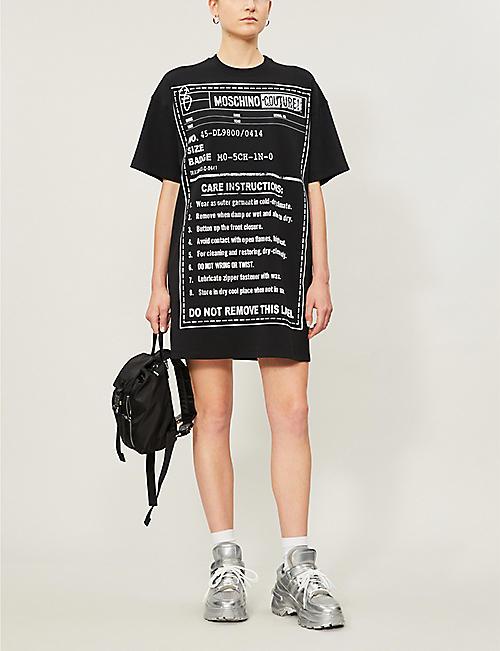 eb95ba1f99 MOSCHINO Graphic care-label print cotton-blend dress