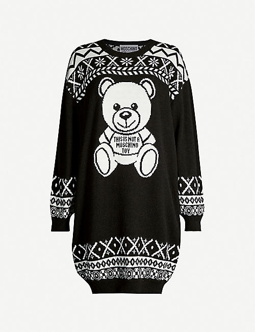 258979e0dd MOSCHINO Teddy-motif knitted jumper dress