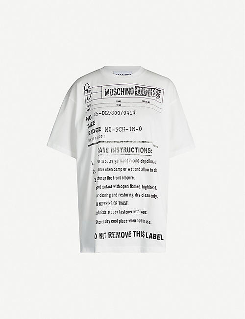 81c31712 MOSCHINO Care label-print cotton-jersey T-shirt