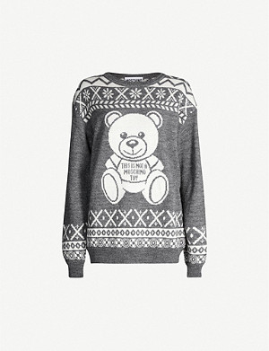 MOSCHINO Bear-intarsia knitted jumper