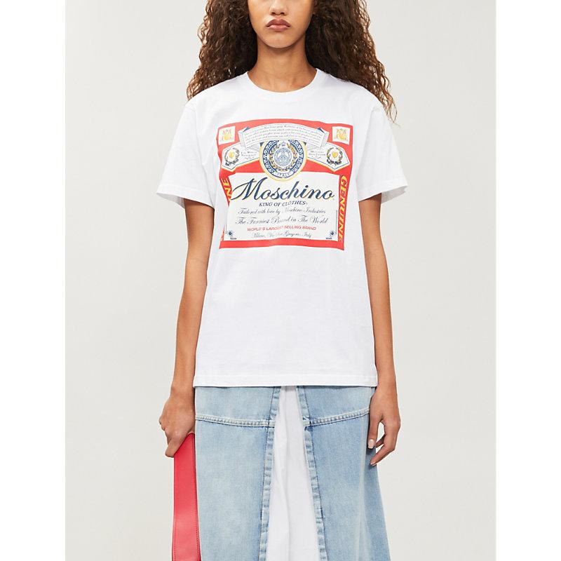 Moschino T-shirts X BUDWEISER PRINT COTTON-JERSEY T-SHIRT