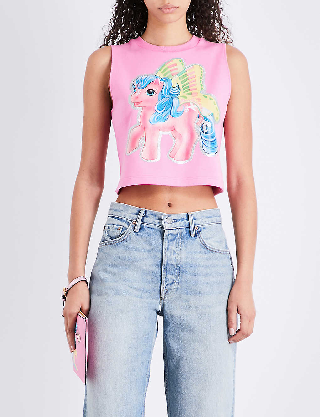 feae7af104 MOSCHINO - My Little Pony-print stretch-cotton cropped top ...