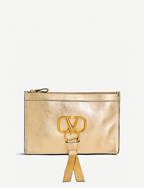 VALENTINO Exclusive Valentino grained-leather pouch