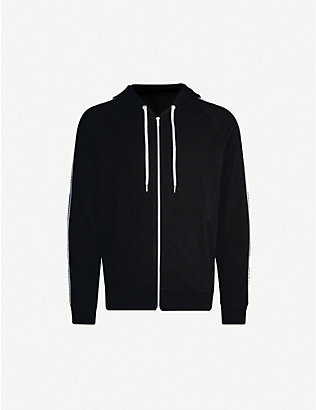 MOSCHINO: Branded-tape cotton-jersey zipped hoodie