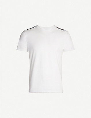 MOSCHINO: Branded-tape cotton-jersey T-shirt