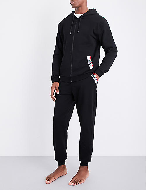 MOSCHINO Tape-detail cotton-jersey jogging bottoms