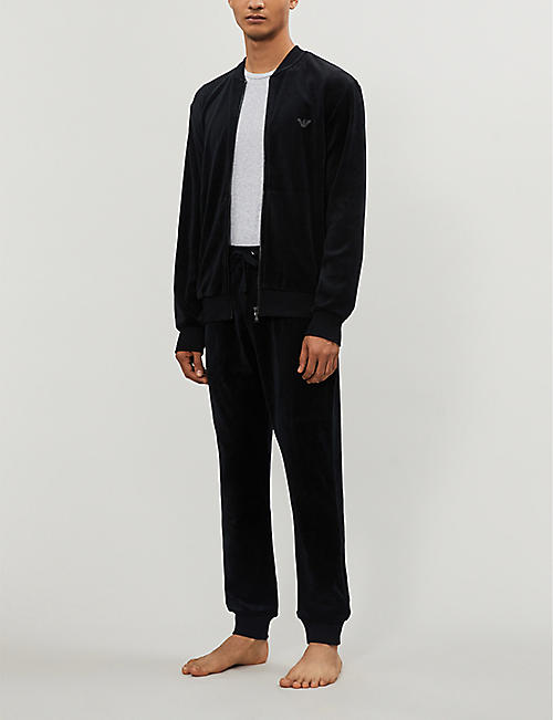 EMPORIO ARMANI Relaxed-fit velour jogging bottoms