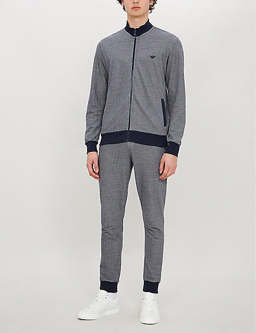 EMPORIO ARMANI Herringbone cotton-blend jogging bottoms