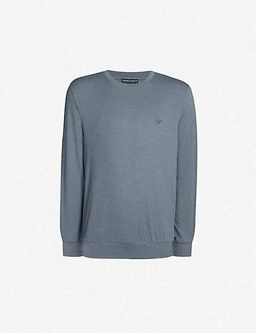 EMPORIO ARMANI Dot-patterned modal-blend sweatshirt e14f1f9ecc