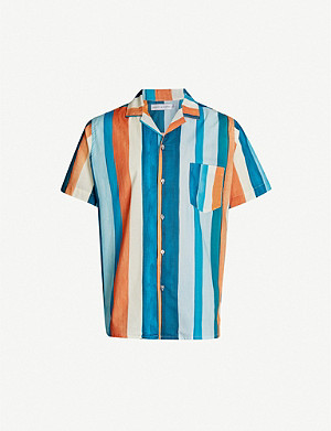 DESMOND AND DEMPSEY Cuban striped cotton pyjama shirt
