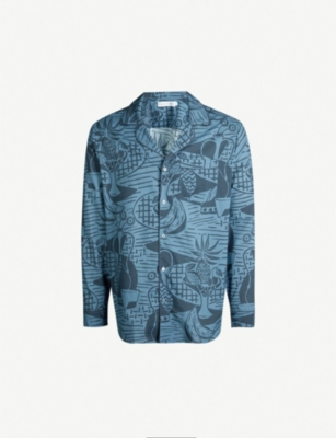 DESMOND AND DEMPSEY The Cubist still life-print cotton pyjama shirt