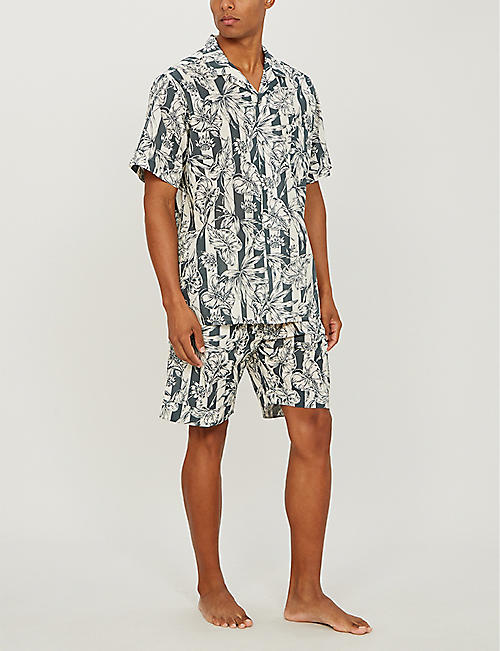 DESMOND AND DEMPSEY The Purist leaf-print cotton pyjama shirt