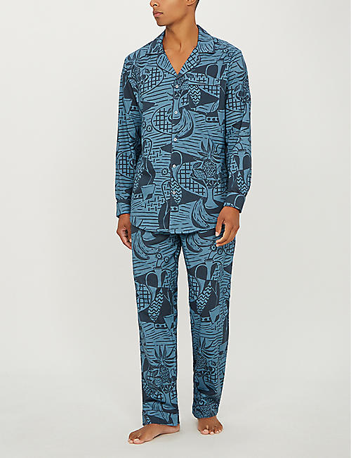 DESMOND AND DEMPSEY The Cubist still life-print cotton pyjama bottoms