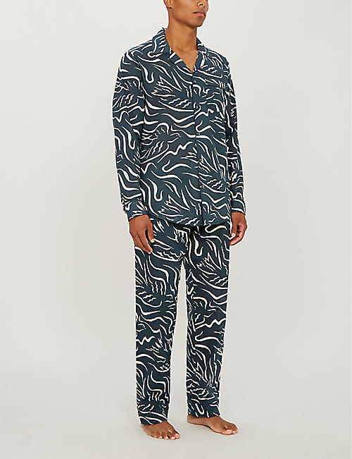 DESMOND AND DEMPSEY The Expressionist bird-print cotton pyjama bottoms