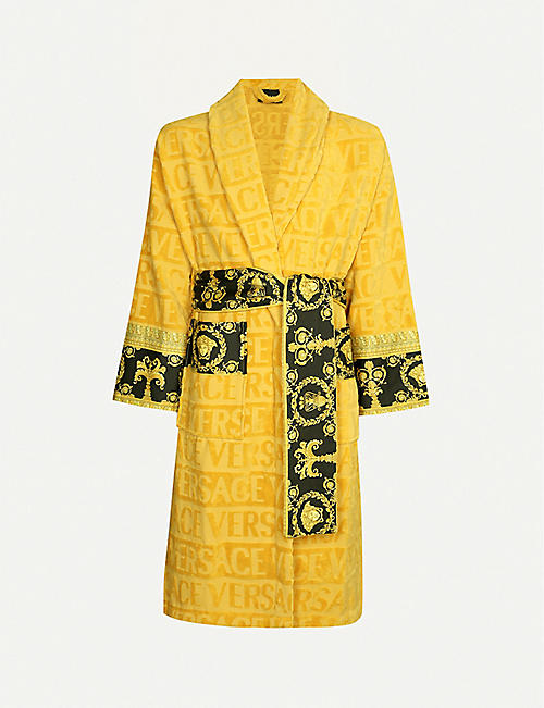 VERSACE Baroque logo cotton-jacquard dressing gown