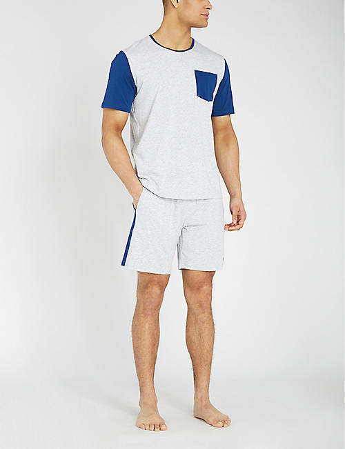 BOSS Contrast stripe cotton-blend sleep shorts