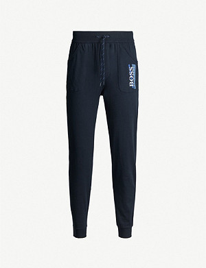 BOSS Logo-print cotton-jersey jogging bottoms