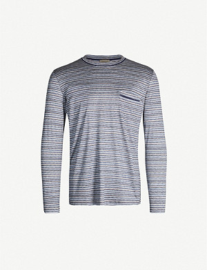 ZIMMERLI Striped long-sleeved silk and cotton-blend top