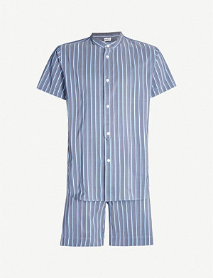 ZIMMERLI Striped cotton and silk-blend pyjama set