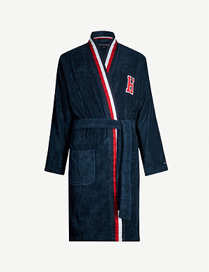 TOMMY HILFIGER Logo cotton-terry dressing gown