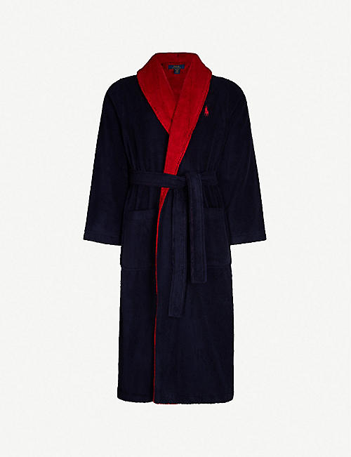 ece24c734b POLO RALPH LAUREN Logo-intarsia two-tone cotton-terry dressing gown