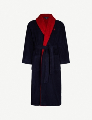 POLO RALPH LAUREN Logo-intarsia two-tone cotton-terry dressing gown