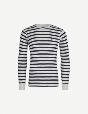 POLO RALPH LAUREN Logo-embroidered striped cotton-blend top