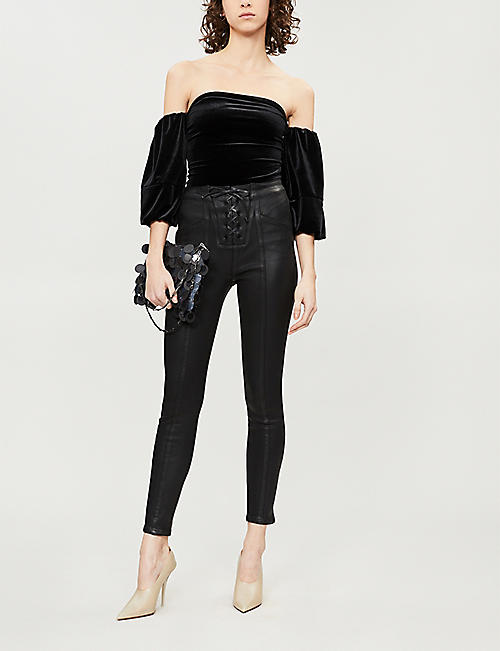 GOOD AMERICAN Off-the-shoulder velvet body