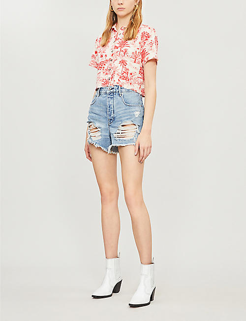 GOOD AMERICAN Bombshell distressed high-rise denim shorts