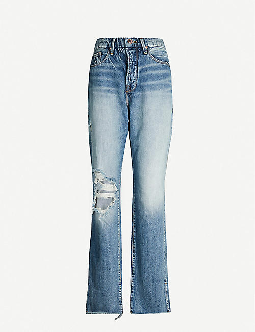 GOOD AMERICAN Good Boy frayed-hem straight relaxed-fit high-rise jeans