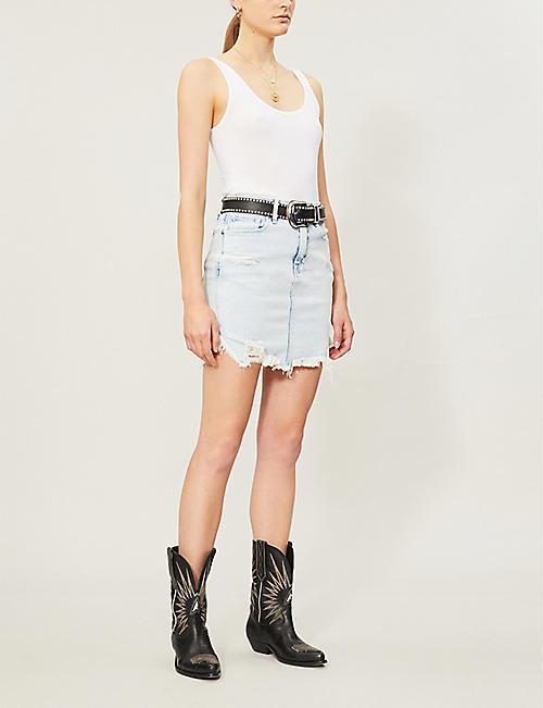 3a4bffbe19 GOOD AMERICAN The Bombshell high-waist denim mini skirt