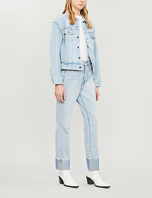 GOOD AMERICAN Good Curve cropped high-rise faded flared jeans