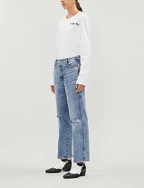 GOOD AMERICAN Good Curve cropped straight high-rise jeans