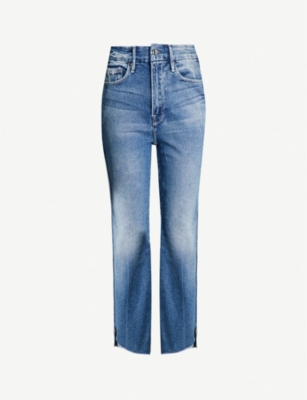 GOOD AMERICAN Good Curve raw-hem high-rise straight jeans
