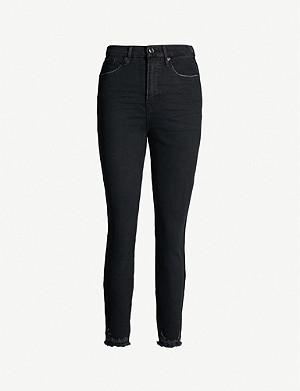 GOOD AMERICAN Good Legs cropped raw hem straight-leg high-rise jeans