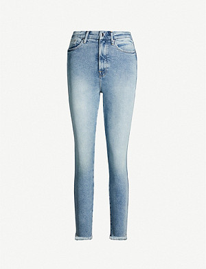 GOOD AMERICAN Good Leg raw hem cropped straight-leg high-rise jeans