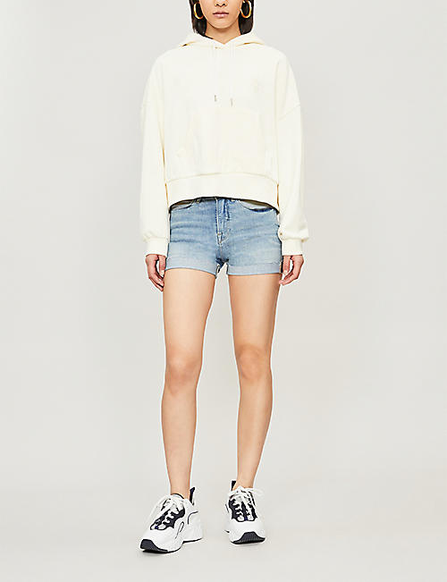 GOOD AMERICAN Faded high-rise stretch-denim shorts