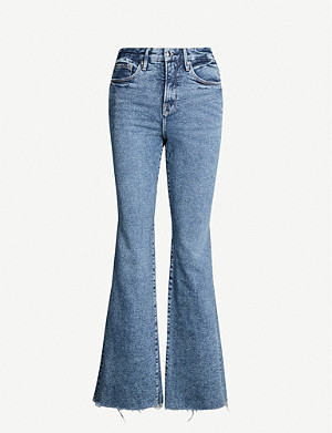 GOOD AMERICAN Good Legs high-rise raw-hem straight-leg jeans