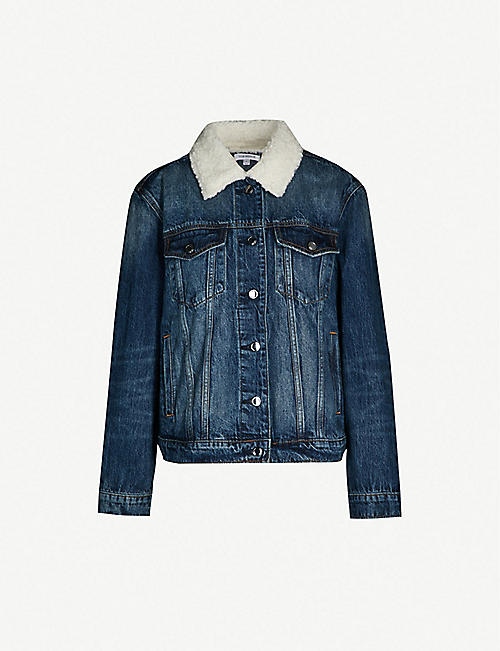 70b2106a1011 GOOD AMERICAN Faux-shearling collar denim jacket