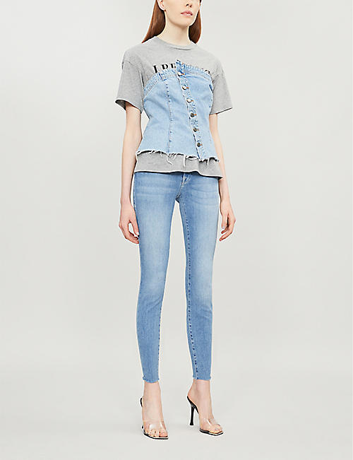 GOOD AMERICAN Good Flare cropped tapered mid-rise jeans