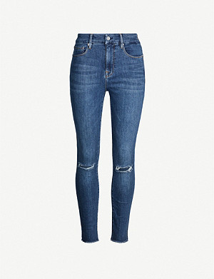 GOOD AMERICAN Good Flare frayed-hem slim-fit high-rise jeans