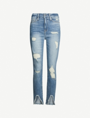 GOOD AMERICAN Good Legs ripped split-hem skinny high-rise jeans