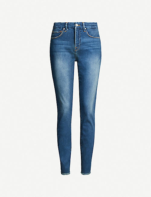 GOOD AMERICAN Good Legs cropped frayed hem straight-leg high-rise jeans