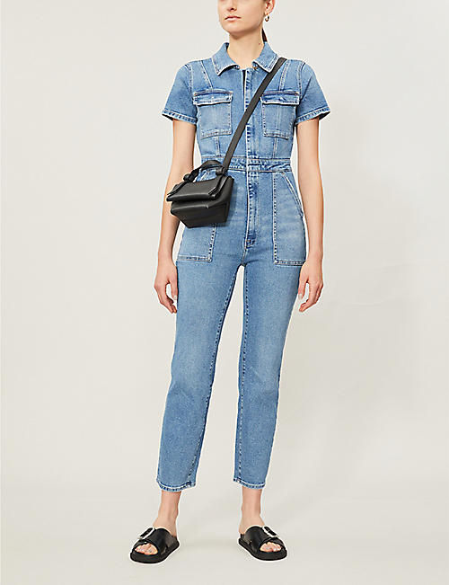 GOOD AMERICAN The Fit For Success short-sleeved denim jumpsuit