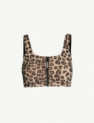 GOOD AMERICAN Leopard-print stretch-jersey sports bra