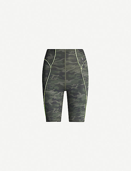 GOOD AMERICAN The Electric Feel camouflage-print stretch-jersey bike shorts